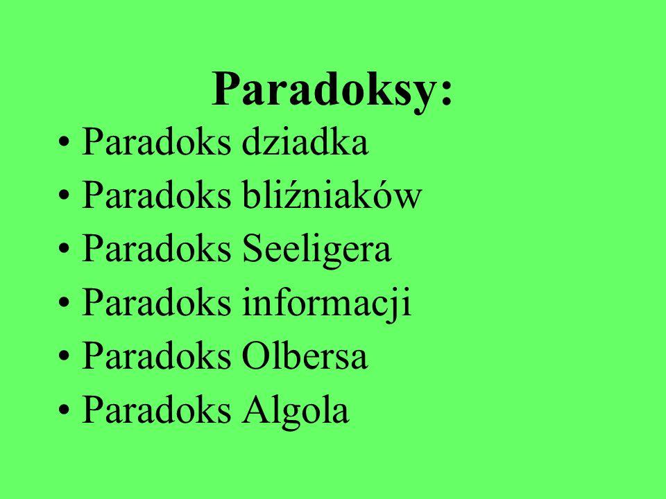 Paradoksy: Paradoks dziadka Paradoks bliźniaków Paradoks Seeligera