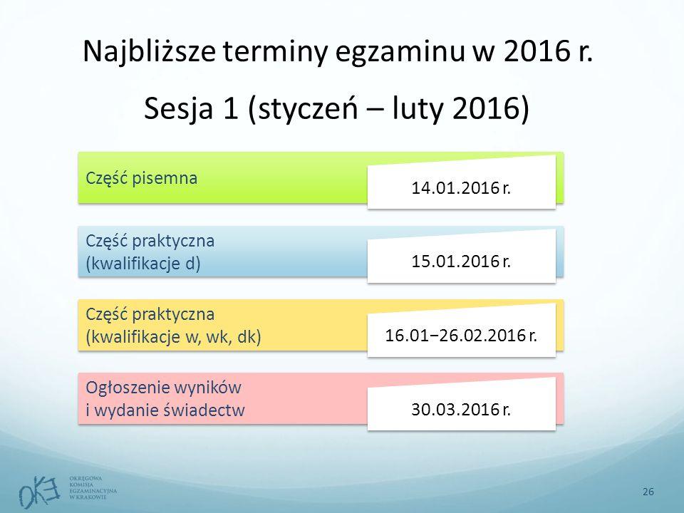 Najbliższe terminy egzaminu w 2016 r.
