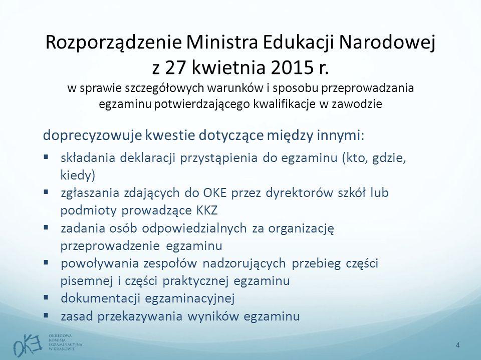 Rozporządzenie Ministra Edukacji Narodowej z 27 kwietnia 2015 r