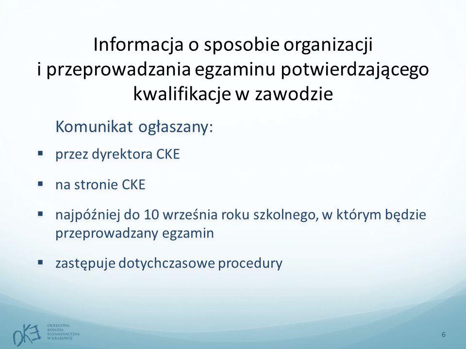 Informacja o sposobie organizacji i przeprowadzania egzaminu potwierdzającego kwalifikacje w zawodzie