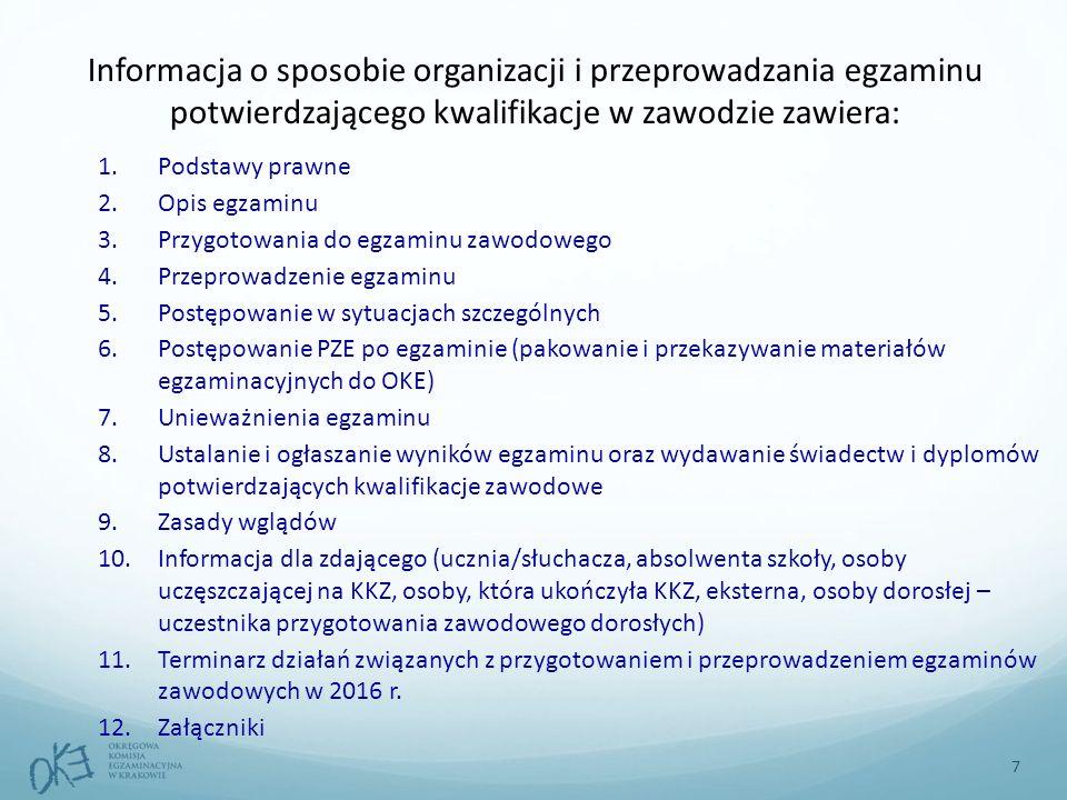 Informacja o sposobie organizacji i przeprowadzania egzaminu potwierdzającego kwalifikacje w zawodzie zawiera: