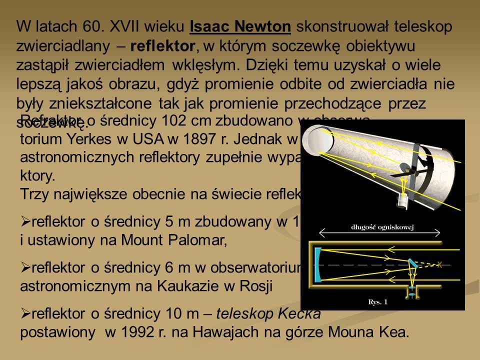 W latach 60. XVII wieku Isaac Newton skonstruował teleskop zwierciadlany – reflektor, w którym soczewkę obiektywu zastąpił zwierciadłem wklęsłym. Dzięki temu uzyskał o wiele lepszą jakoś obrazu, gdyż promienie odbite od zwierciadła nie były zniekształcone tak jak promienie przechodzące przez soczewkę.