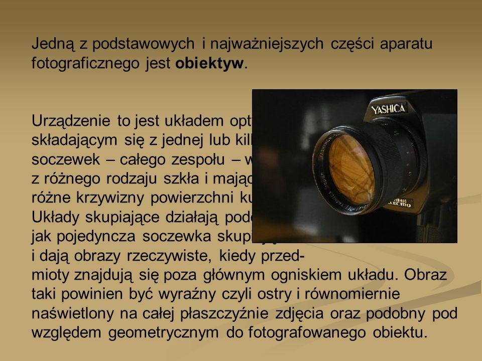 Jedną z podstawowych i najważniejszych części aparatu fotograficznego jest obiektyw.