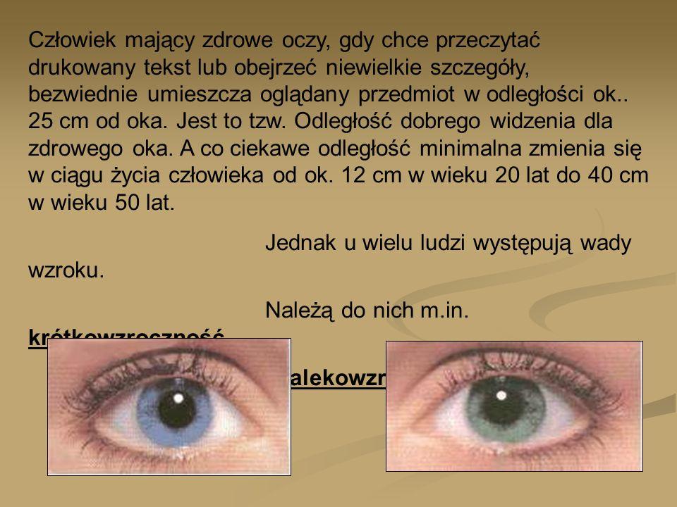 Człowiek mający zdrowe oczy, gdy chce przeczytać drukowany tekst lub obejrzeć niewielkie szczegóły, bezwiednie umieszcza oglądany przedmiot w odległości ok.. 25 cm od oka. Jest to tzw. Odległość dobrego widzenia dla zdrowego oka. A co ciekawe odległość minimalna zmienia się w ciągu życia człowieka od ok. 12 cm w wieku 20 lat do 40 cm w wieku 50 lat.