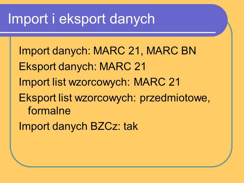 Import i eksport danych