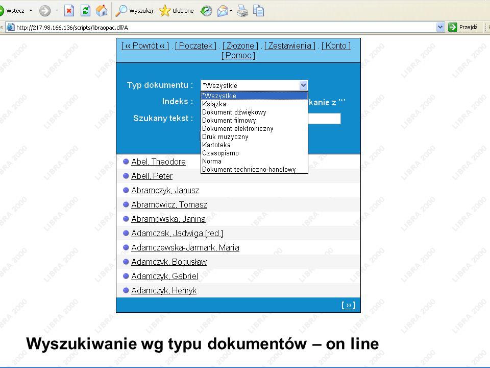 Wyszukiwanie wg typu dokumentów – on line