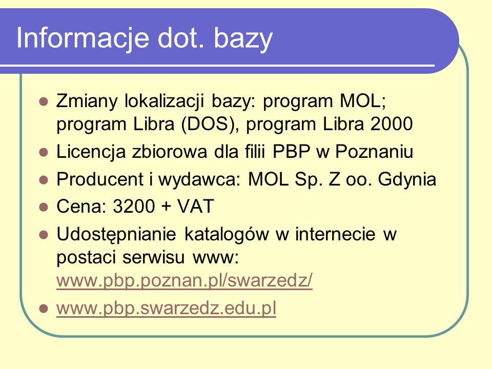 Informacje dot. bazy Zmiany lokalizacji bazy: program MOL; program Libra (DOS), program Libra 2000.