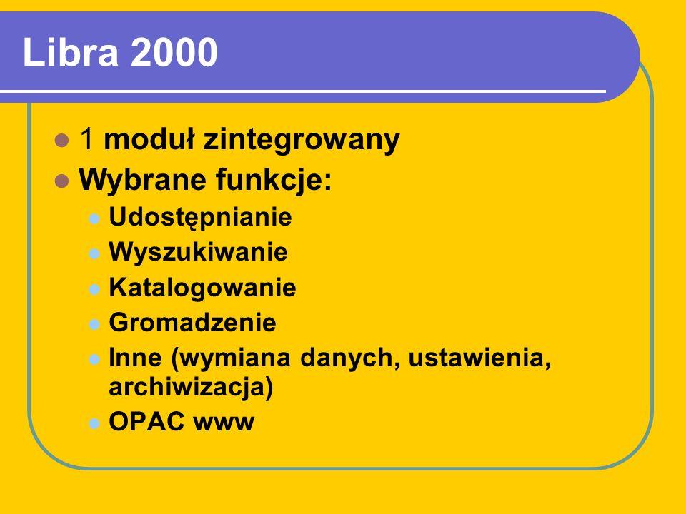 Libra 2000 1 moduł zintegrowany Wybrane funkcje: Udostępnianie