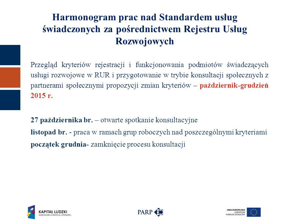 Harmonogram prac nad Standardem usług świadczonych za pośrednictwem Rejestru Usług Rozwojowych