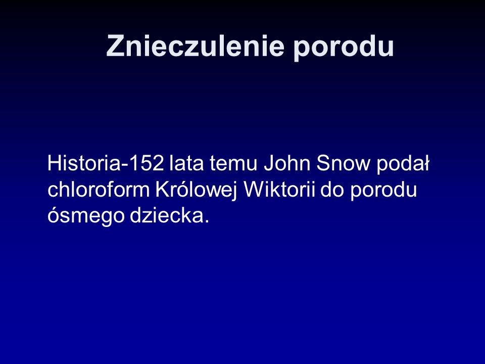 Znieczulenie porodu Historia-152 lata temu John Snow podał chloroform Królowej Wiktorii do porodu ósmego dziecka.