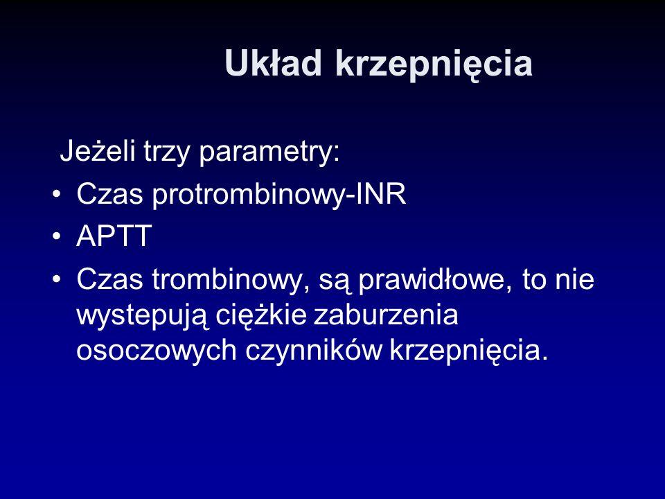 Układ krzepnięcia Jeżeli trzy parametry: Czas protrombinowy-INR APTT