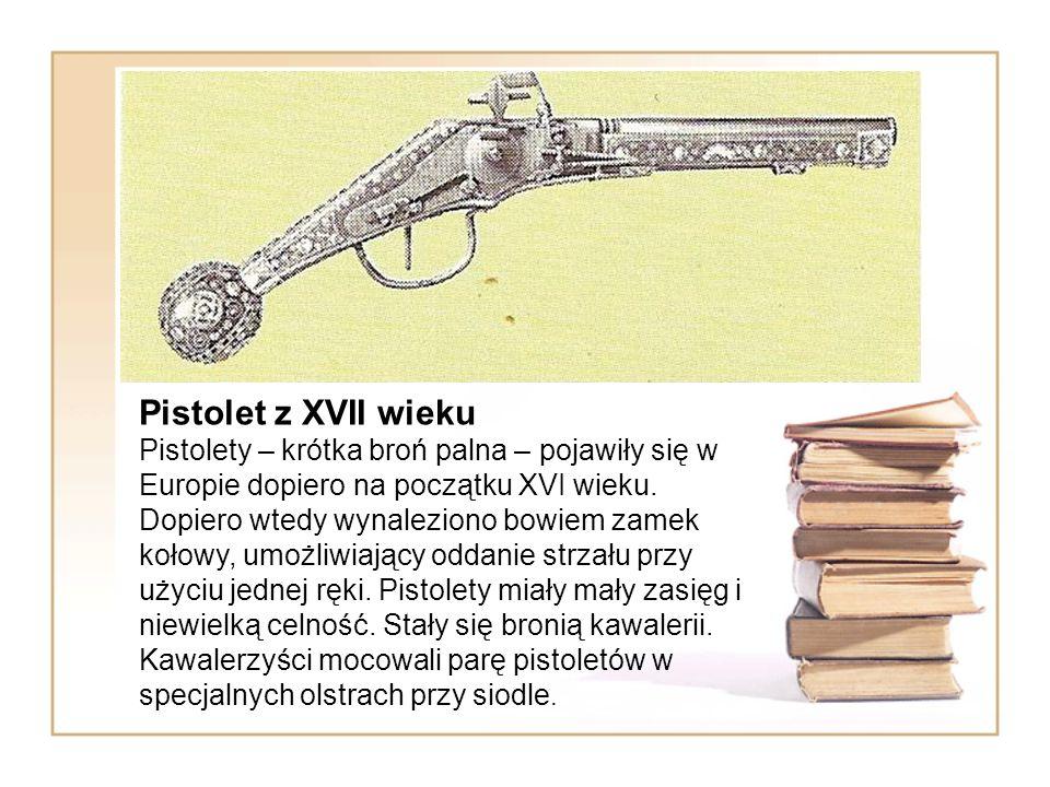 Pistolet z XVII wieku Pistolety – krótka broń palna – pojawiły się w Europie dopiero na początku XVI wieku.