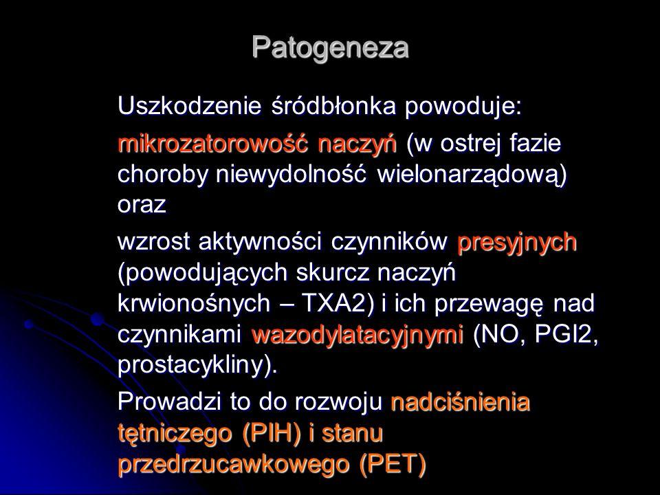 Patogeneza Uszkodzenie śródbłonka powoduje:
