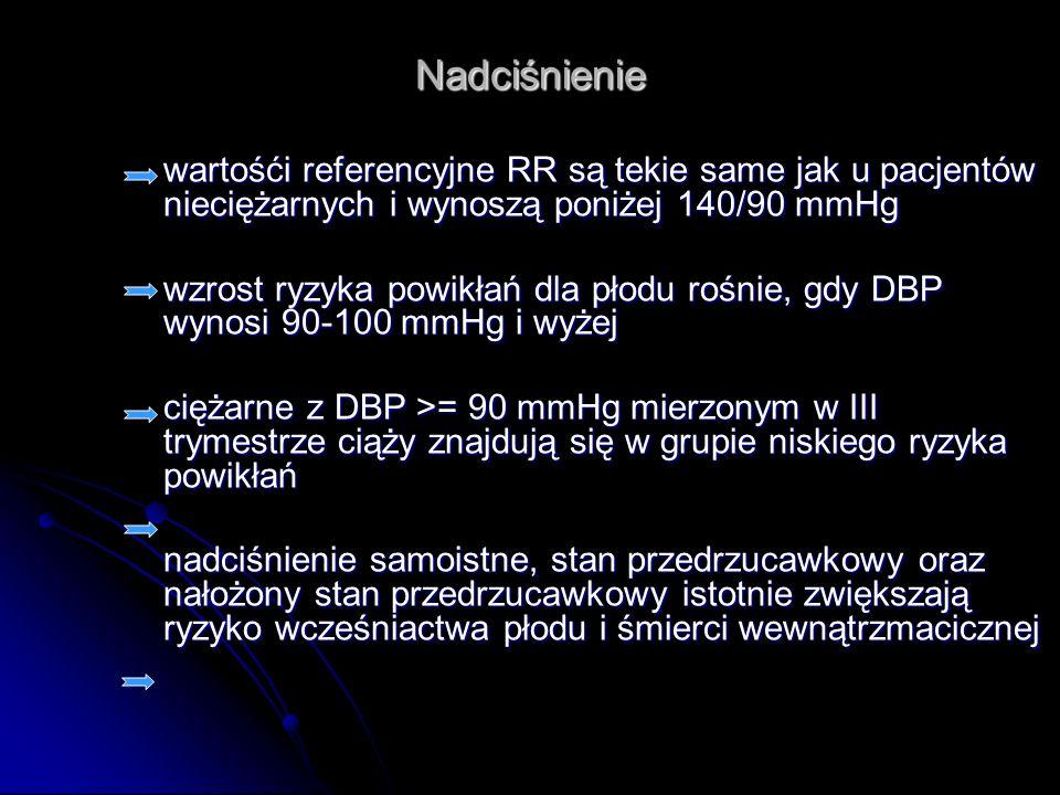 Nadciśnienie wartośći referencyjne RR są tekie same jak u pacjentów nieciężarnych i wynoszą poniżej 140/90 mmHg.