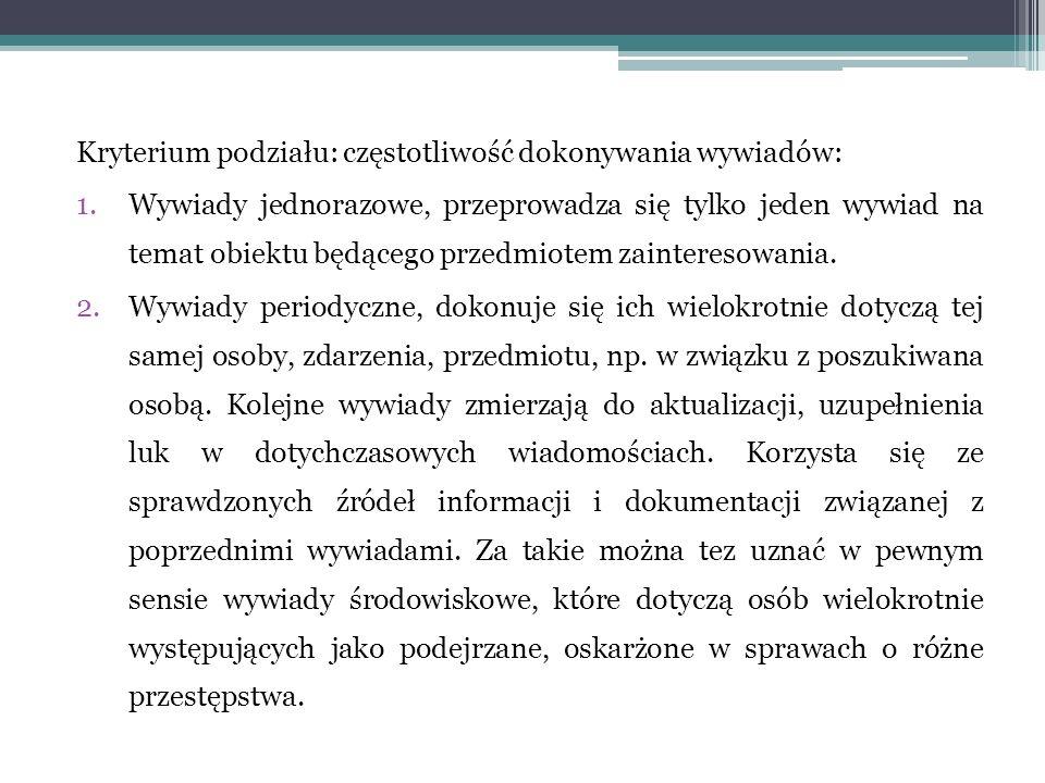 Kryterium podziału: częstotliwość dokonywania wywiadów: