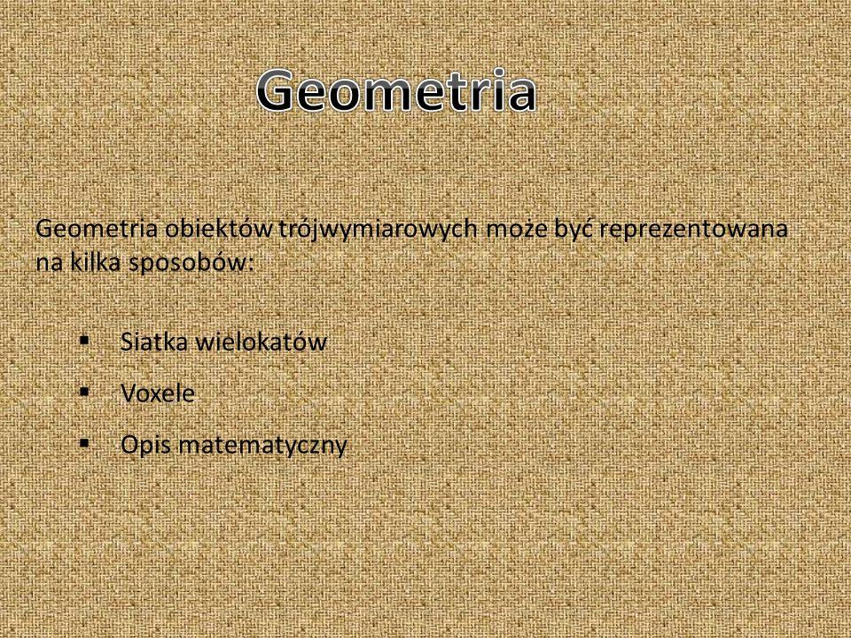 Geometria Geometria obiektów trójwymiarowych może być reprezentowana