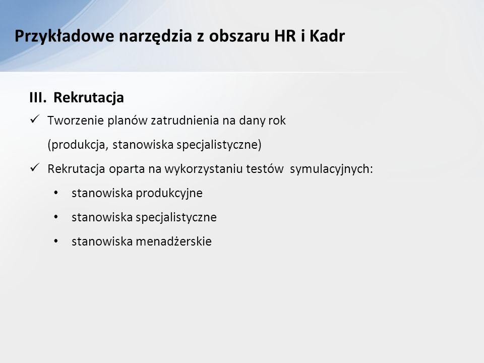 Przykładowe narzędzia z obszaru HR i Kadr