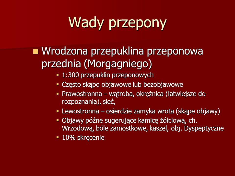 Wady przepony Wrodzona przepuklina przeponowa przednia (Morgagniego)