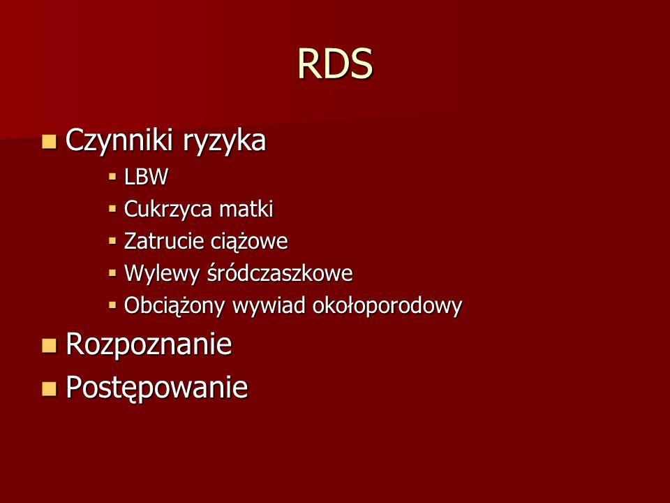 RDS Czynniki ryzyka Rozpoznanie Postępowanie LBW Cukrzyca matki