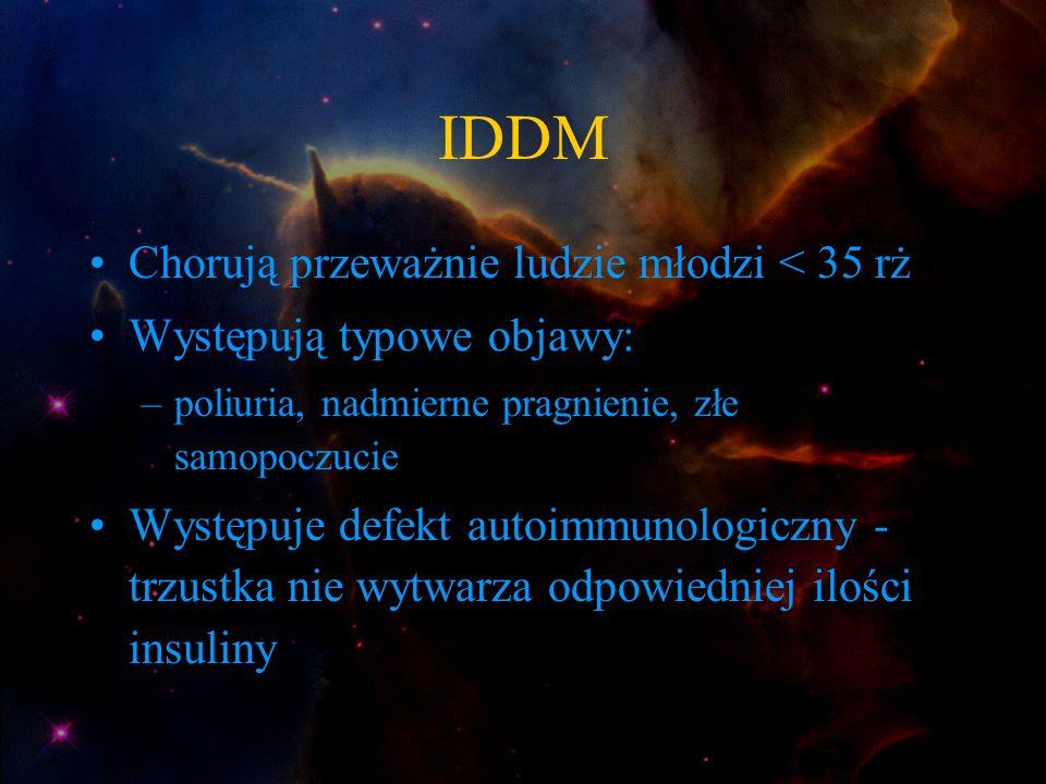 IDDM Chorują przeważnie ludzie młodzi < 35 rż