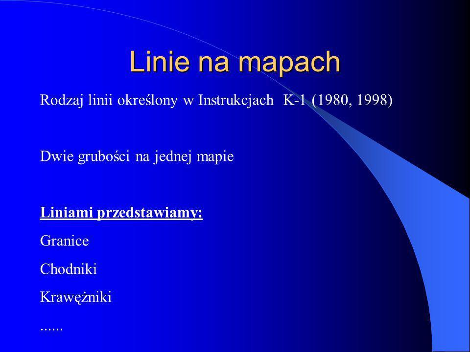 Linie na mapach Rodzaj linii określony w Instrukcjach K-1 (1980, 1998)