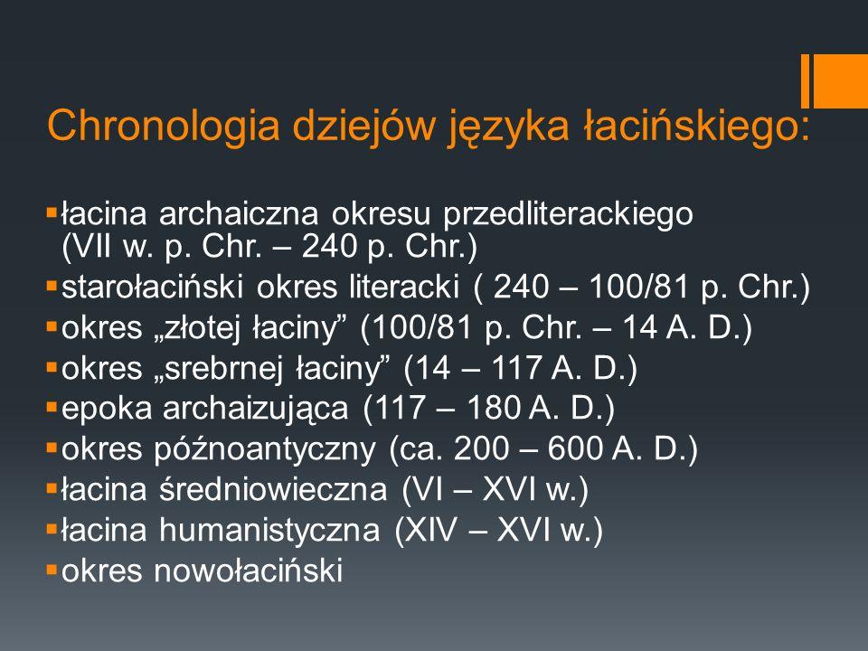 Chronologia dziejów języka łacińskiego: