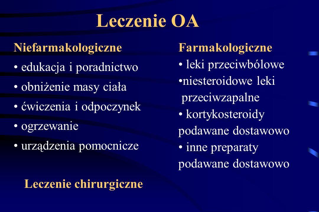 Leczenie OA Niefarmakologiczne Farmakologiczne edukacja i poradnictwo