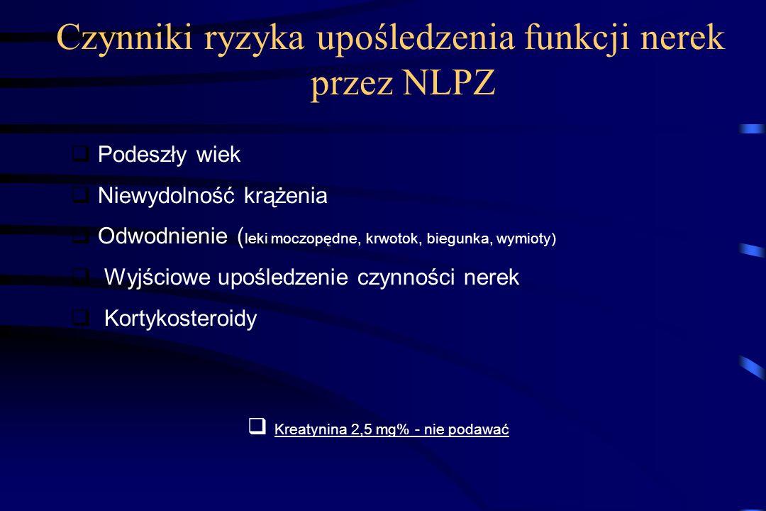 Czynniki ryzyka upośledzenia funkcji nerek przez NLPZ