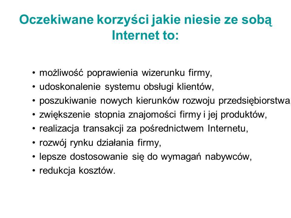 Oczekiwane korzyści jakie niesie ze sobą Internet to: