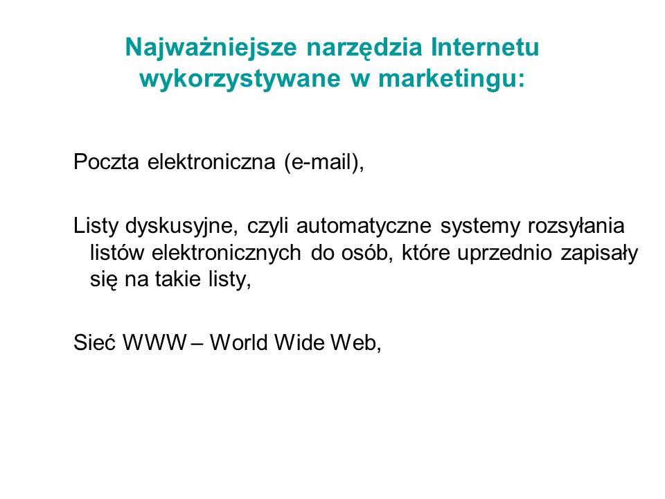 Najważniejsze narzędzia Internetu wykorzystywane w marketingu: