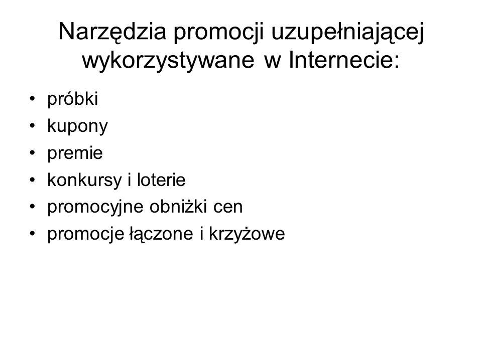Narzędzia promocji uzupełniającej wykorzystywane w Internecie: