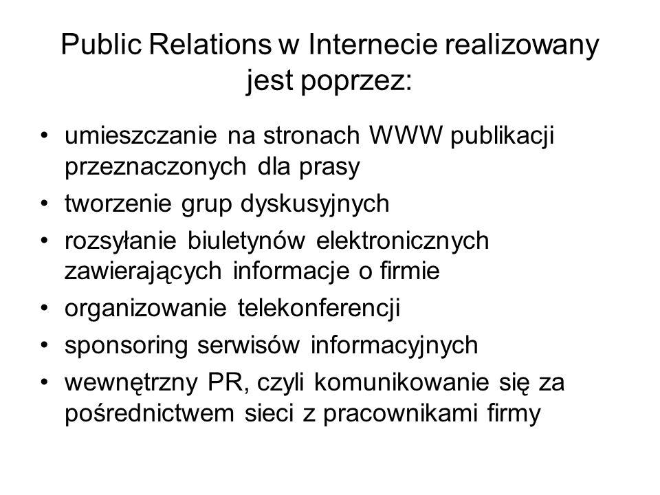 Public Relations w Internecie realizowany jest poprzez: