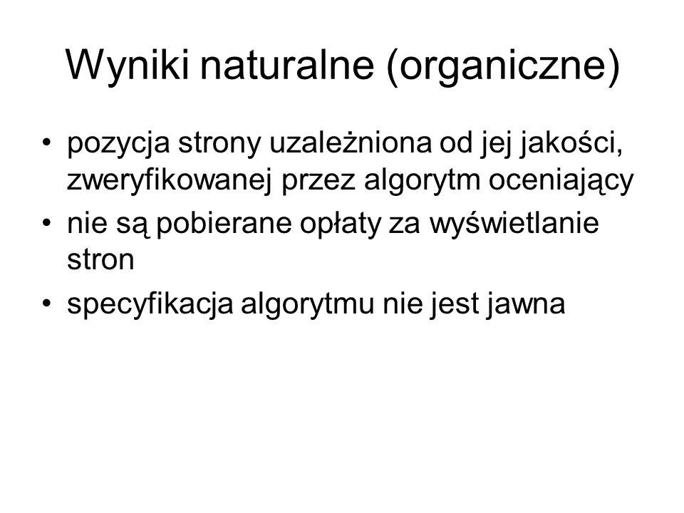 Wyniki naturalne (organiczne)