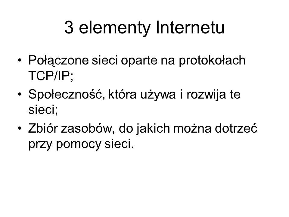 3 elementy Internetu Połączone sieci oparte na protokołach TCP/IP;
