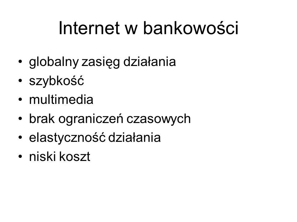 Internet w bankowości globalny zasięg działania szybkość multimedia