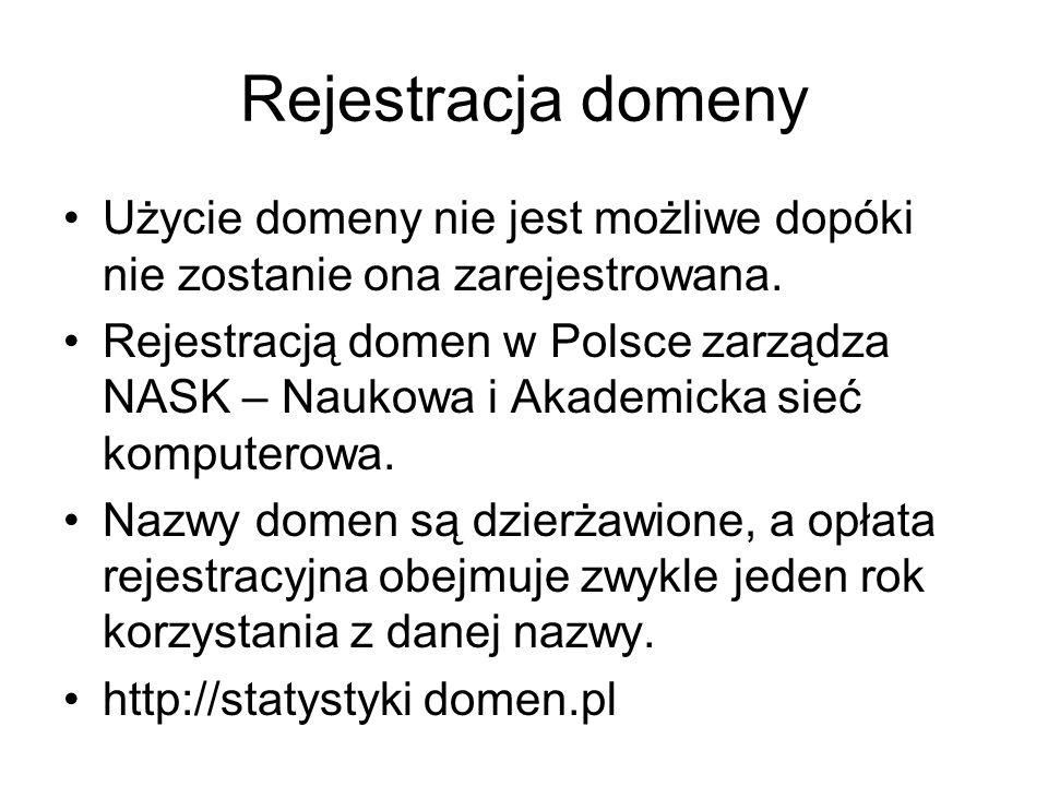 Rejestracja domeny Użycie domeny nie jest możliwe dopóki nie zostanie ona zarejestrowana.