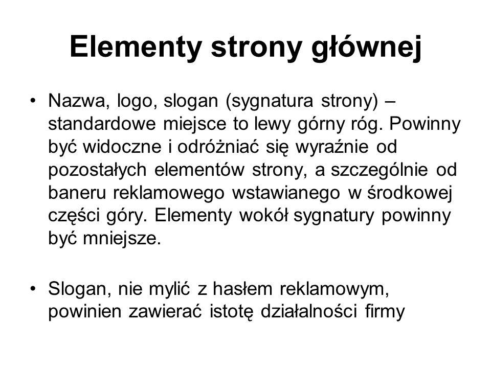 Elementy strony głównej