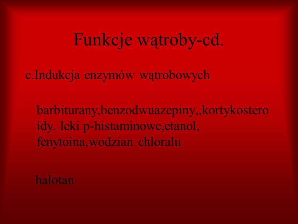 Funkcje wątroby-cd. c.Indukcja enzymów wątrobowych