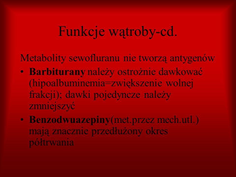 Funkcje wątroby-cd. Metabolity sewofluranu nie tworzą antygenów