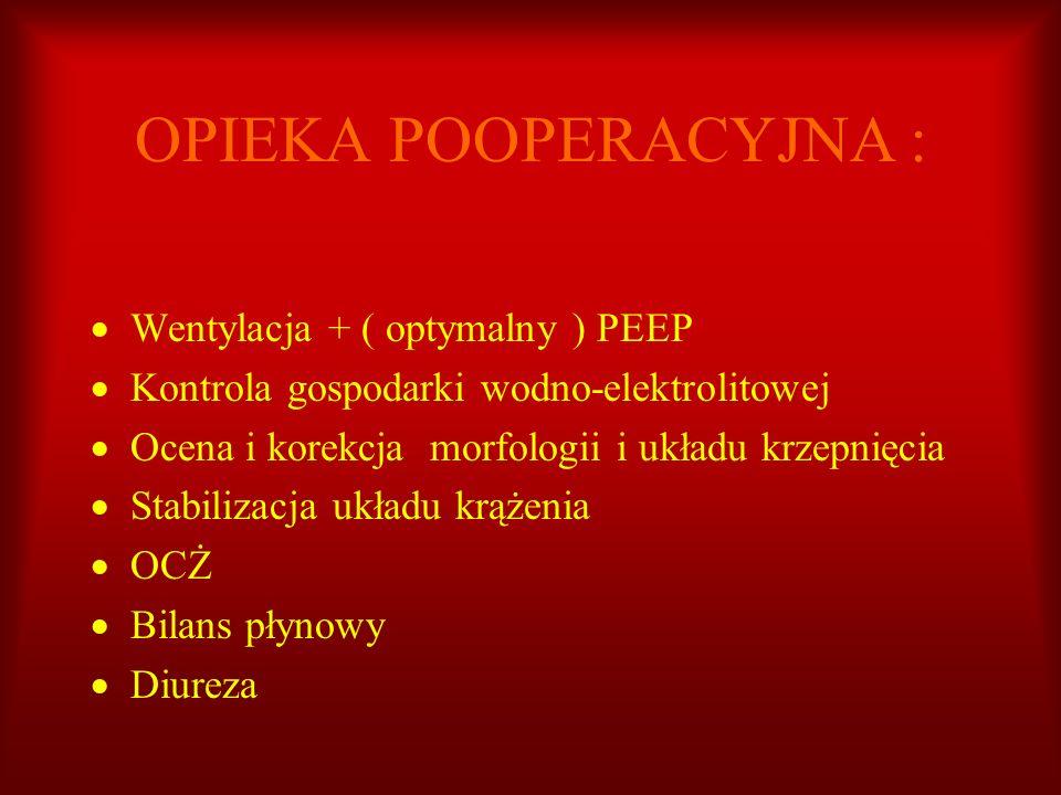 OPIEKA POOPERACYJNA : Wentylacja + ( optymalny ) PEEP