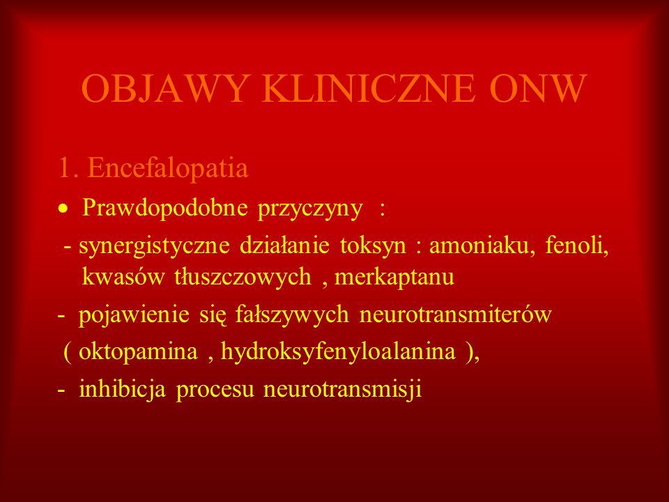 OBJAWY KLINICZNE ONW 1. Encefalopatia Prawdopodobne przyczyny :