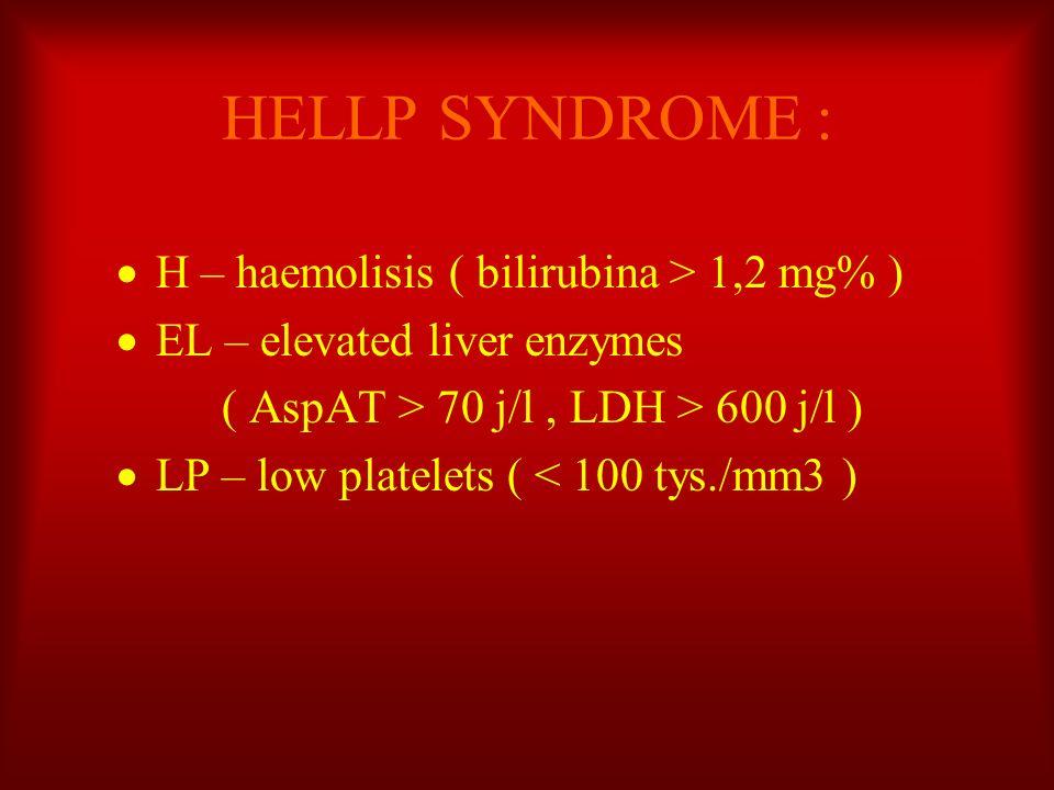 HELLP SYNDROME : H – haemolisis ( bilirubina > 1,2 mg% )