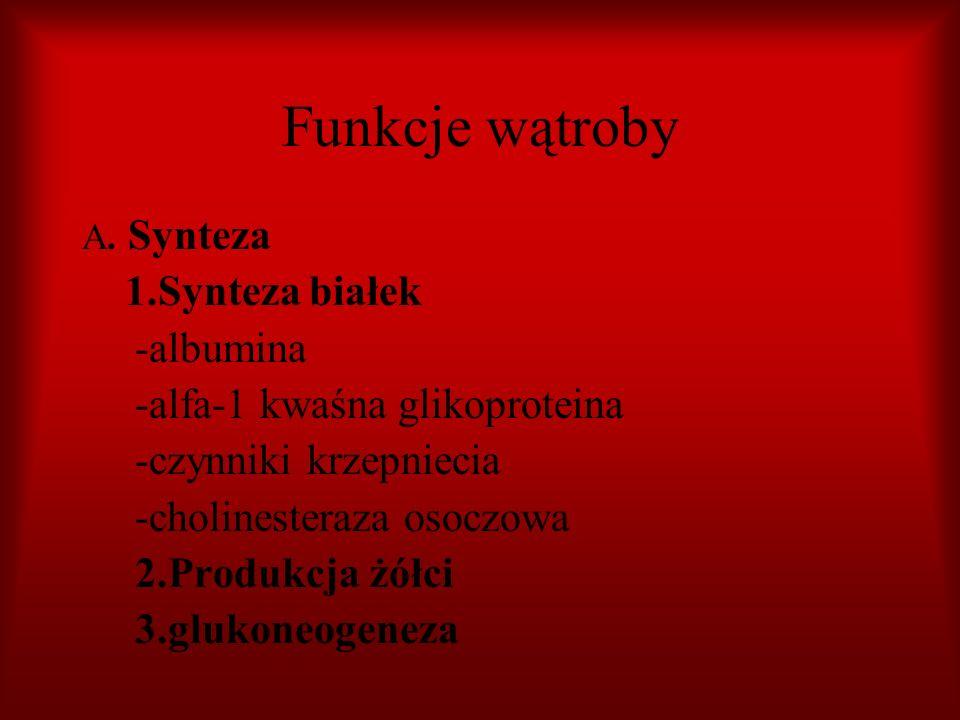 Funkcje wątroby 1.Synteza białek -albumina