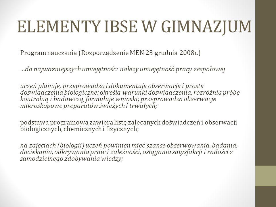 ELEMENTY IBSE W GIMNAZJUM