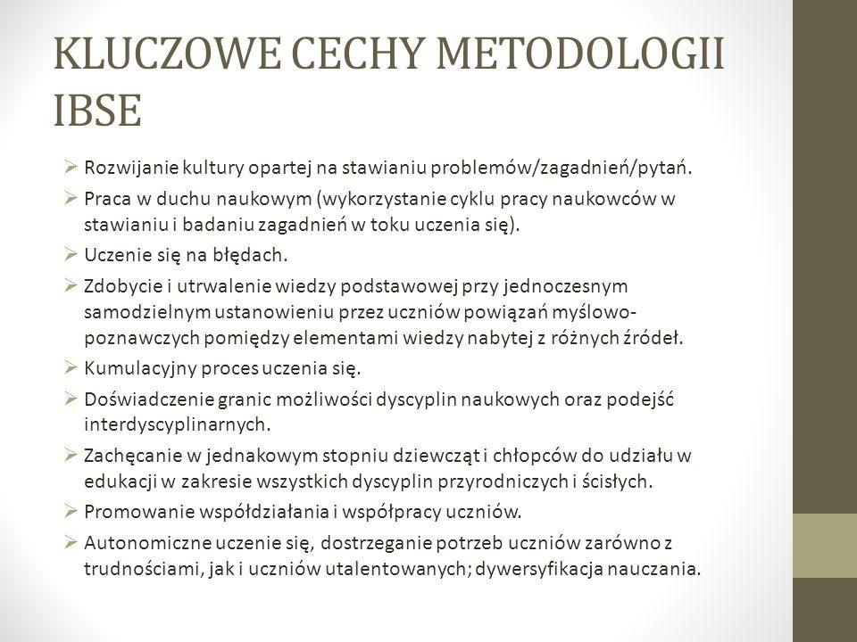 KLUCZOWE CECHY METODOLOGII IBSE