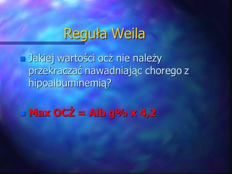 Reguła Weila Jakiej wartości ocż nie należy przekraczać nawadniając chorego z hipoalbuminemią.