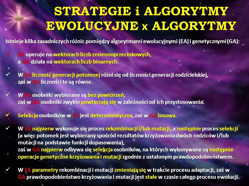STRATEGIE i ALGORYTMY EWOLUCYJNE x ALGORYTMY