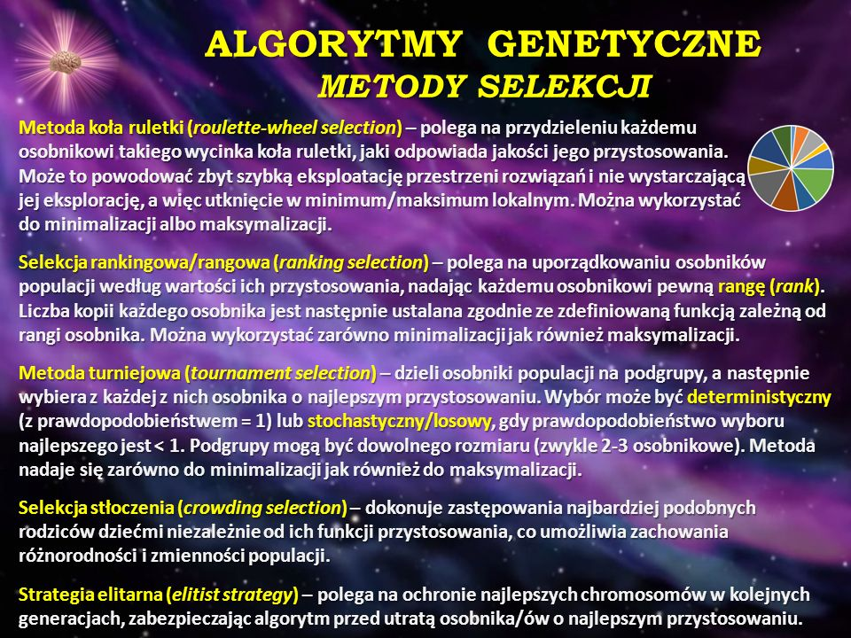 ALGORYTMY GENETYCZNE METODY SELEKCJI