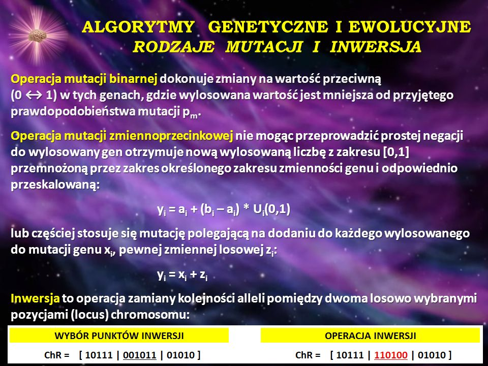ALGORYTMY GENETYCZNE I EWOLUCYJNE RODZAJE MUTACJI I INWERSJA