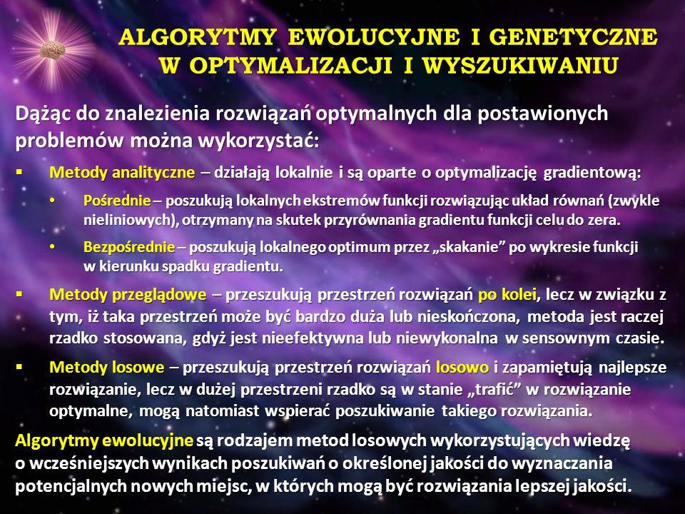 ALGORYTMY EWOLUCYJNE I GENETYCZNE W OPTYMALIZACJI I WYSZUKIWANIU